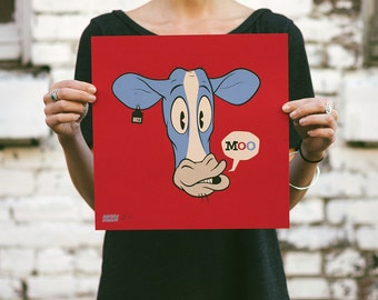 Moo! - Cow Screen Print. Kids Room Art. Signed Limited Edition of 100. By Artist Matt Douglas