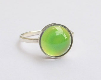 Mood Ring Sterling Silver 925 - 10 mm Quality Mood Stone