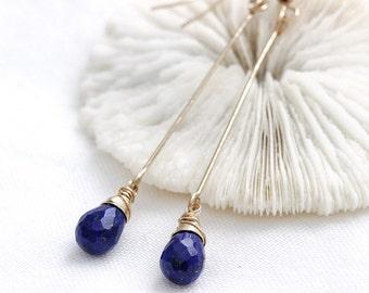 Lapis Lazuli Long Dangle Earrings, Lapis Gold Earrings, Blue Lapis Drop Earrings, Blue Gold Earrings, Lapis Lazuli Jewelry, Long Earrings