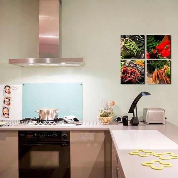 Kitchen Decor Vegetables: Vegetables Set Of 4 Canvas For Kitchen Decor/food Decor/set Of
