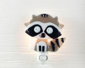 Nightlight, raccoon, fused glass, forest friend, night light, baby room decoration, nursery, shower gift, kid room, children