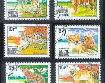 Big Cat Postage Stamps from Guinea Bissau - 1984 - Collections, Arts and Crafts, Scrapbooking