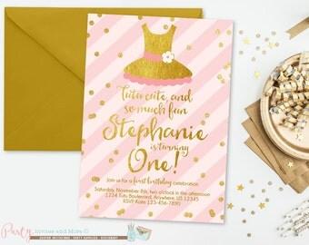 Pink and Gold Tutu Birthday Invitation, Tutu Birthday Invitation, Pink and Gold Birthday Invitation, Tutus, Confetti, Ballerina Invitation