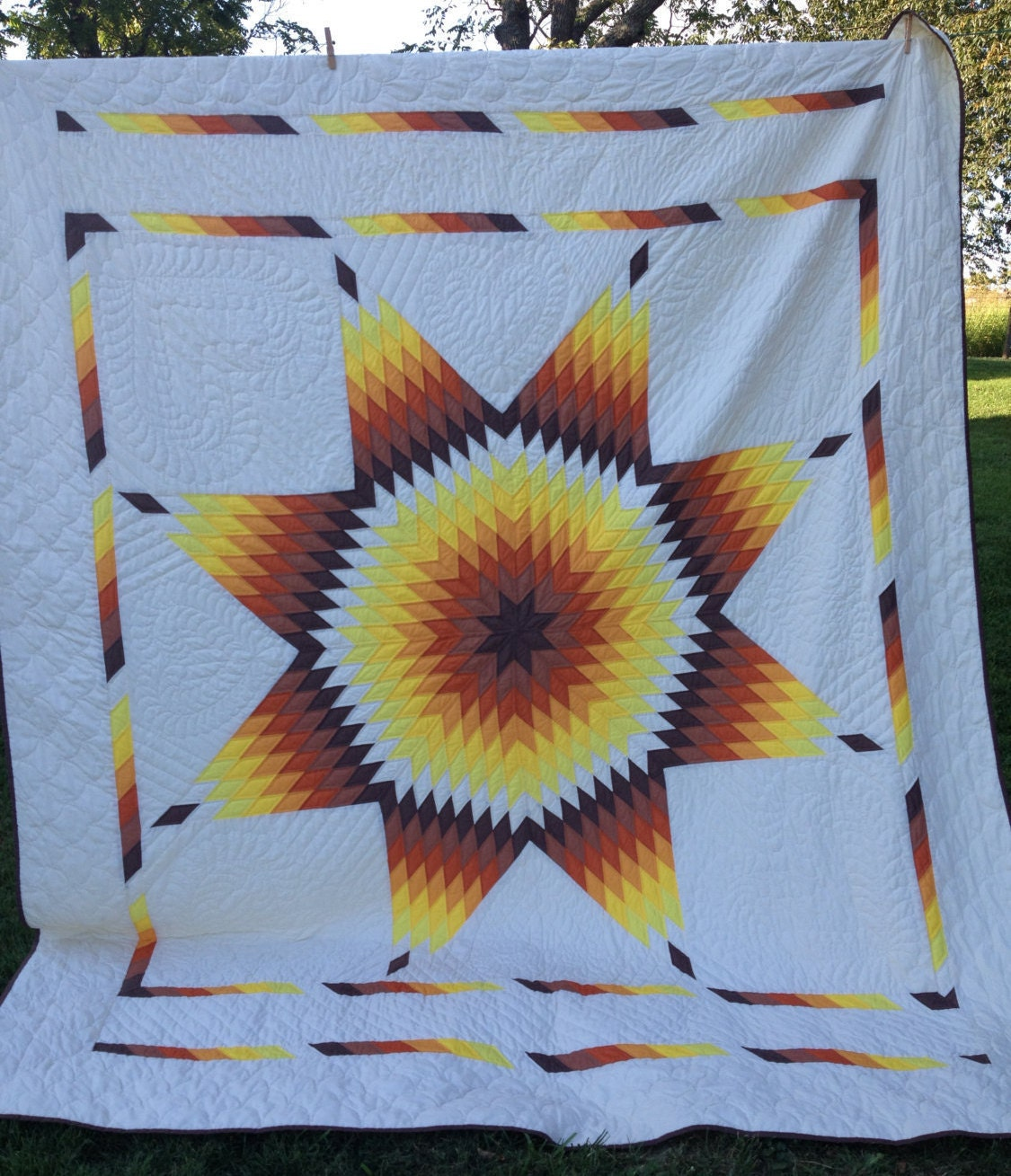 Lone Star Quilt Pattern Queen Size : Lone Star Quilt Vintage Hand Quilted Brown Orange Yellow
