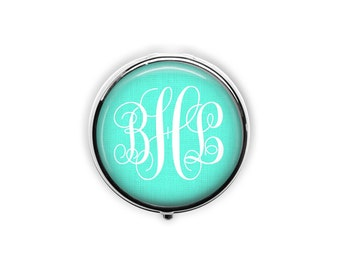 Monogram pill case custom pill box preppy sorority gift bridesmaid gift under 15 personalized initial party favors mint container.