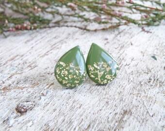 Olive green earrings drop earrings green stud earring gold earrings army wife army girlfriend i love my soldier military girlfriend army mom