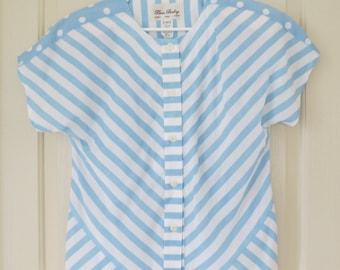 Retro 80s Slouchy Polka Striped Blue and White Print Shirt / Medium / Vintage