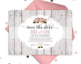 SHABBY CHIC Custom Save the Date Invitation
