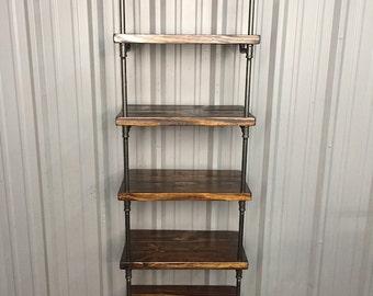 Deep Shelf Bookcase - Wood Shelf - Media Shelf - Deep shelving unit - Pipe Shelves - Deep Shelves - Book Shelf - Industrial Furniture