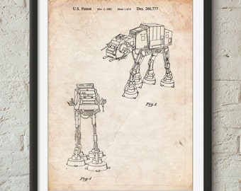 Star Wars AT-AT Imperial Walker Patent Poster, Empire Strikes Back, Star Wars Wall Decor, Starwars Art, Movie Wall Art,  PP0146