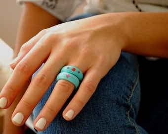 Turquoise band ring, Statement ring, turquoise jewelry stone ring gemstone ring natural turquoise ring row turquoise jewelry