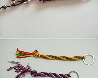 Kumihimo keychain, Black fuchsia and light pink satin cord kumihimo keychain, Kumihimo keyring, Twisted kumihimo keychain with metal beads