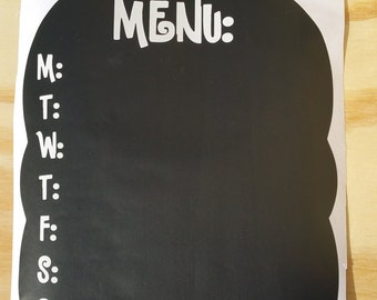 Chalkboard Vinyl Menu Decal - menu board - vinyl decal - chalkboard vinyl - kitchen decor - home organization