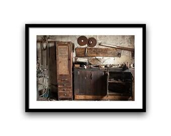 Industrial urban decay, wood shop, 5x7, 8x10, fine art photography Wall Decor, Home Decor, brown, giclée print