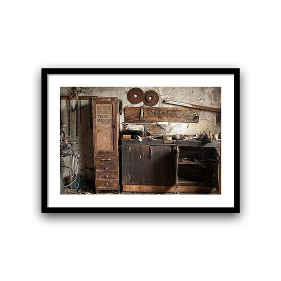 Industrial urban decay, wood shop, 5x7, 8x10, fine art photography Wall Decor, Home Decor, brown, giclée print