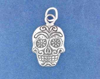SUGAR SKULL Charm, Day Of The Dead, Halloween .925 Sterling Silver Charm