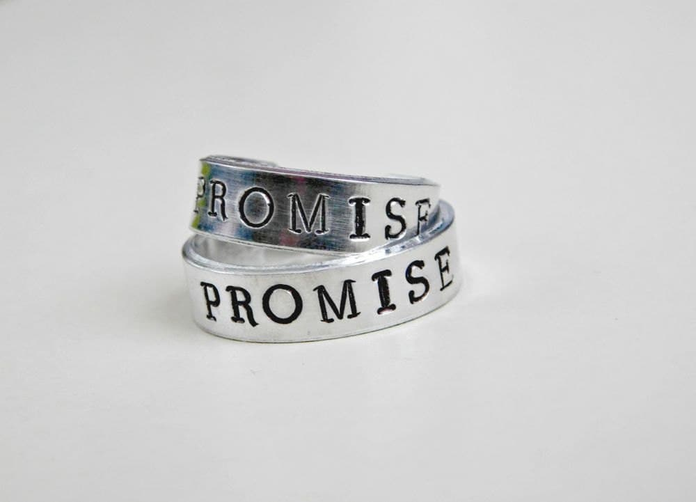 promise ring set couples custom size sted engraved