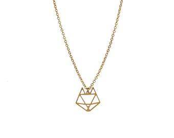 Fox necklace / Golden geometric necklace/ short minimalist necklace / graphic pendant / Emma et moi jewellery