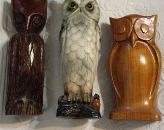 Lot of three vintage owls