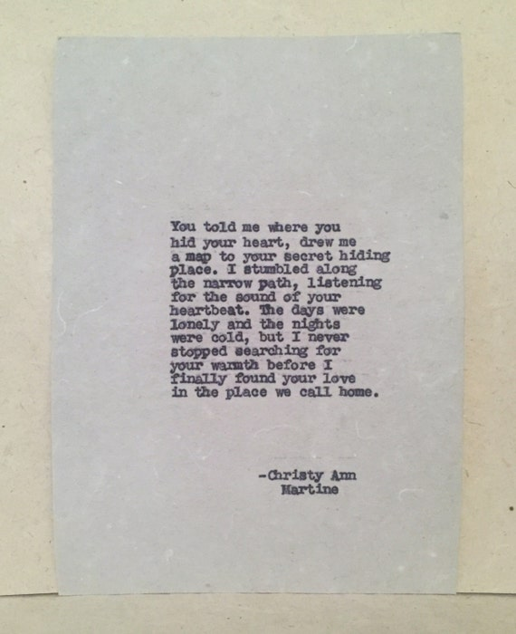 Anniversary Gifts for Him or Her - Cotton Anniversary - Romantic Love Poem Typed onto Handmade Paper