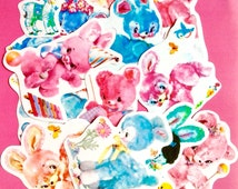 Vintage Kitsch Style Plush Animal Party Assorted Paper Glossy / Plain Stickers (Pack of 13pieces) -- Australian seller