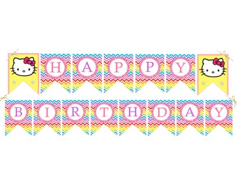 Hello Kitty Birthday Banner Birthday Party Decorations Chevron DIY Printable Banner