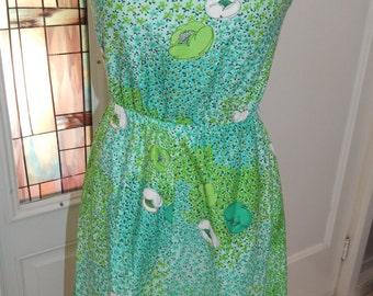Vintage 70's Malia Honolulu Green Floral Summer Dress S-M
