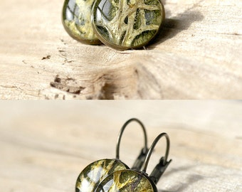 Bohemian jewelry green Boho earrings Natural gift Woodland jewelry Forest jewelry Olive jewelry Nature earrings Moss jewelry Olive earrings