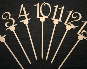 Table Numbers On a Stick, Wood Table Numbers, Table & Ball Design, DIY Wedding Table Numbers, Party Guests Table Numbers, DIY Brides