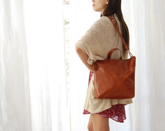 Brown leather tote, large brown shoulder bag, brown cross body bag brown, leather backpack for women, everyday leather tote, convertible bag