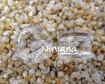 """Clear Bubble Plugs Pyrex Glass - One Pair 00g 7/16"""" 1/2"""" 9/16"""" 5/8"""" 3/4"""" 1"""" 9.5 mm 10 mm 12 mm 14 mm 16 mm 18 mm 20 mm 22 mm 25 mm"""