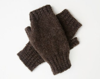 Fingerless Gloves Brown - Fashion Accessories - Gift for Her - Winter Accessories - Brown Gloves - Daugher Gift Knitted Fingerless Mittens