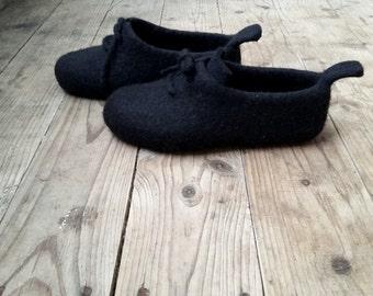 Long distance gift Felt slippers for men Black house shoes Boyfriend birthday gift idea Original design wool shoes Male gift