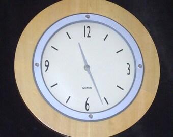 Golden Curved Wood Framed Vintage Large Clock, Daniel Dakota Clock, Circular Wall Clock Large Clock Numbers & Hands Working Clock Collection