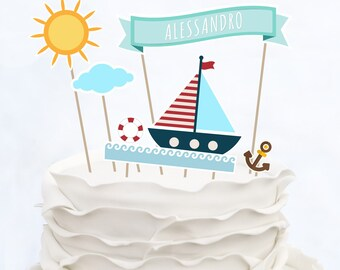 CAKE TOPPER BABY_customized_Baby Shower_Handmade in ITALY_Cake topper baptism_Cake topper birthday_Cake topper Navy_It's a Boy_It's a girl