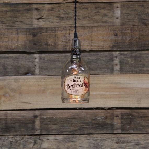 Wild Turkey Rare Breed Bottle Pendant Light-Upcycled Industrial Glass Ceiling Light-Handmade Bourbon Bottle Light Fixture, Recycled Lighting