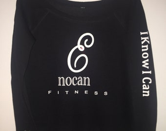 ENOCAN Women E-Bling Crew Off-The-Shoulder Sweatshirt in Black