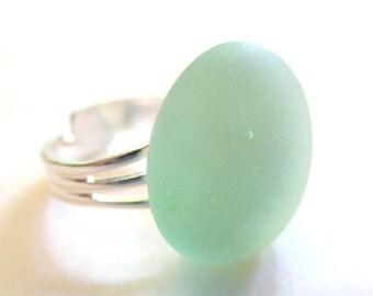 Pale Seafoam Green Ring, Faux Beach Glass Ring, Beach Jewelry, Tumbled Glass Ring, Faux Sea Glass Ring, Frosted Glass Ring, Silver Ring