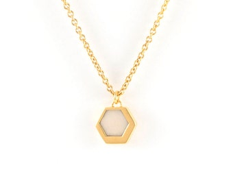 Hexagon collar brass gilded end and ivory plant, handmade - VEGAN