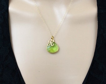 Peridot Necklace, Initial Necklace, Minimal Necklace, Letter Necklace, Personalized Necklace, Initial Jewelry, August Birthstone, Pendant