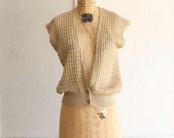 vintage 70s gold metallic sleeveless top sweater vest