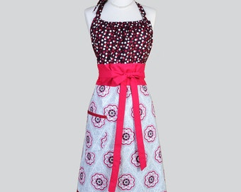 Cute Kitsch Womens Apron . Berry and Grey Polka Dot and Medallions Retro Vintage Style Kitchen Cooking Apron with Pockets