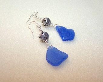 Real Sea Glass Earrings Cornflower Blue Sterling Silver Swirl Bead Bali Jewelry Dark Blue Beach Glass English Seaglass Pendant Earing Canada