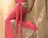 Belly dance trumpet skirt set , performance set, mermaid skirt set in silky Pink and shimmering silver white trim