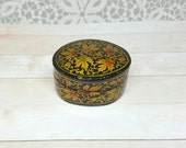 Vintage Black Lacquer Floral Box, Made in Kashmir India, Oval, Gold Leaves, Small Jewelry Box