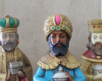 Vintage 60's Three Wise Men figurines paper mache Japan