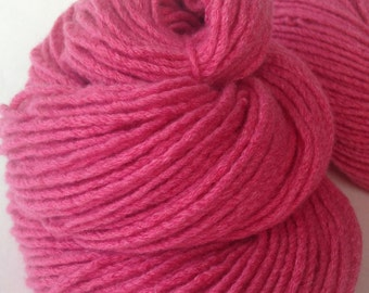Pink Carnation, 140 yards of pure cashmere yarn, reclaimed and hand spun from upcycled cashmere sweater