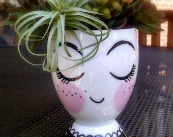 Face vase, ceramic cup pencil holder, head planter, organizer, head vase, head planter ceramic head vase, office organizer, office gift idea