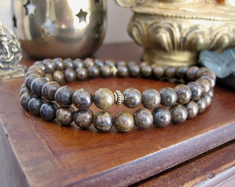 Mens Beaded Wrap Bracelet - Bronzite Bracelet for Men, Brown Stone Mala Beads with Gold, Mens Gift for Determination and Empowerment