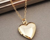 Heart Locket Necklace, Gold Heart Locket, Tiny Heart Locket, Simple Locket, Small Gold Locket, Gold Locket Pendant, Wedding Jewelry, Bridal